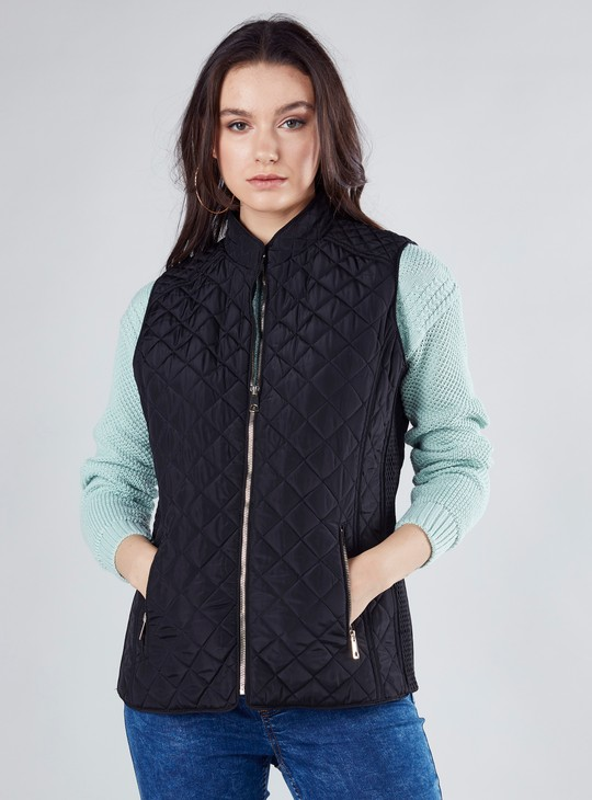 Quilted Sleeveless Gilet Jacket with Zip Closure