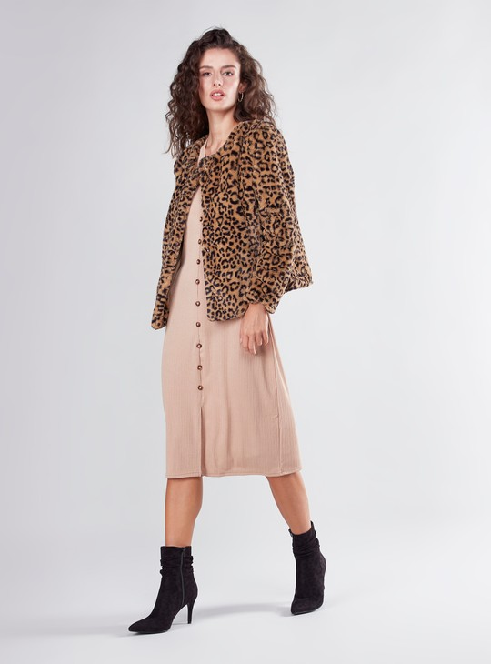 Animal Printed Faux Fur Jacket with Long Sleeves and Button Closure