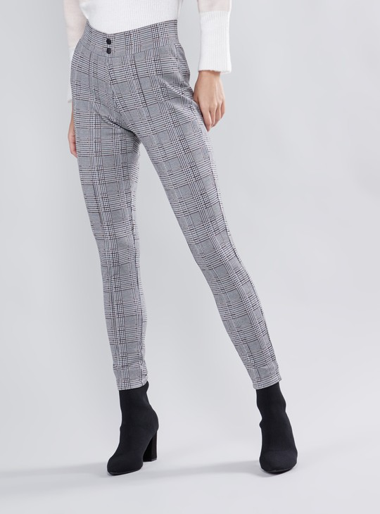 Checked Jaquard High Rise Leggings