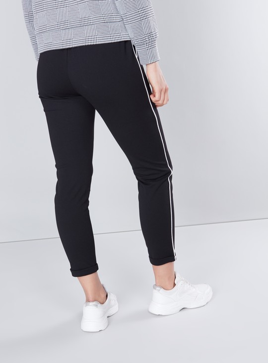 Full Length Mid Rise Pants with Tape and Pocket Detail