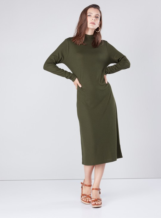 Textured Midi A-line Dress with Crew Neckline