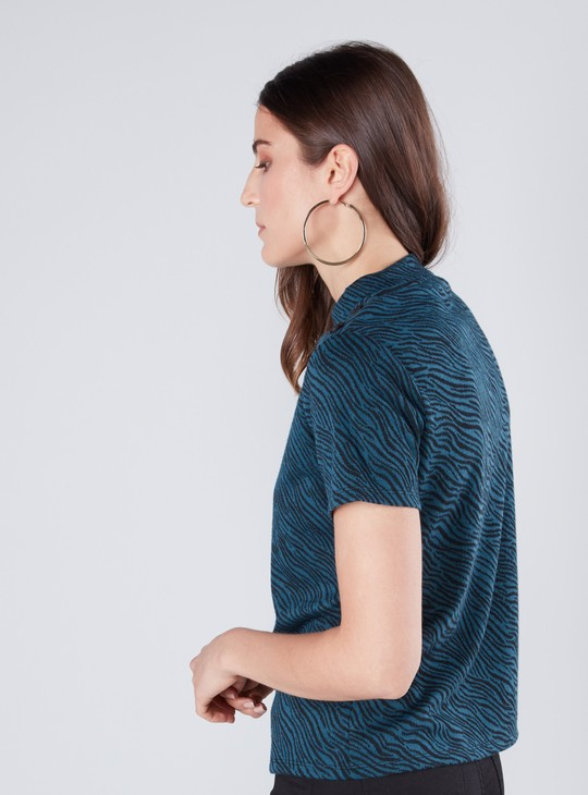 Printed High Neck Jacquard Top with Short Sleeves