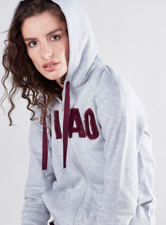 Textured Sweatshirt with Hood and Pockets