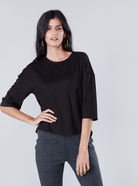 Textured Boxy T-shirt with Round Neck and 3/4 Sleeves