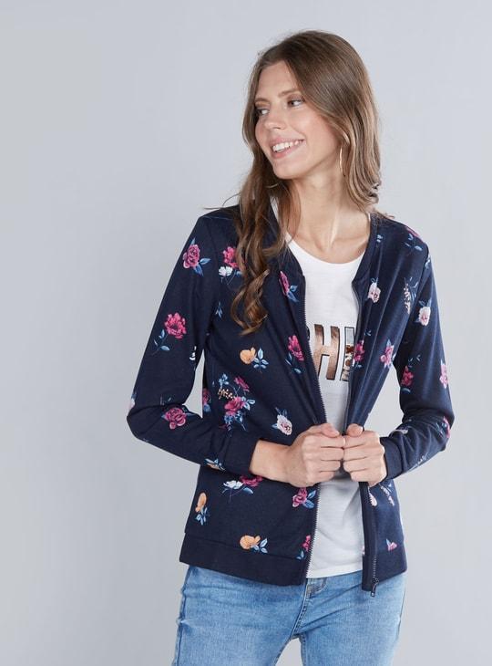 Floral Printed Sweatshirt with Long Sleeves and Zip Closure