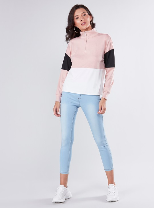 Colour Block Sweatshirt with High Neck and Long Sleeves