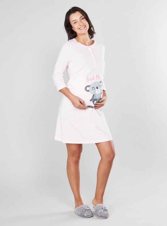 Printed Sleep Dress with Plain Robe with Pocket Detail and Tie Ups