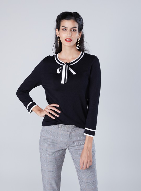 Tie Up Sweater with 3/4 Sleeves