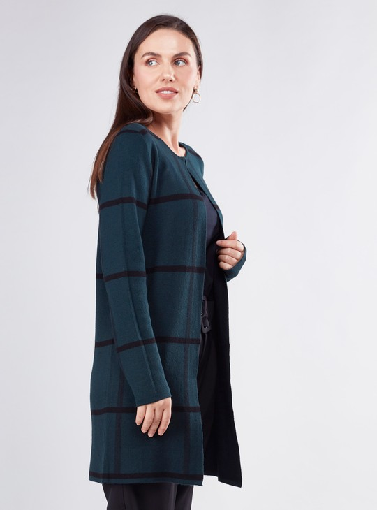Chequred Cardigan with Long Sleeves
