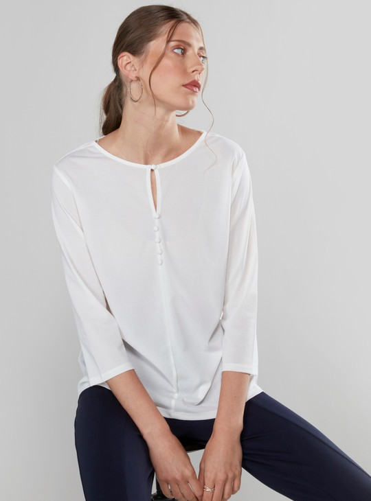 Solid Top with 3/4 Sleeves  and Button Detail