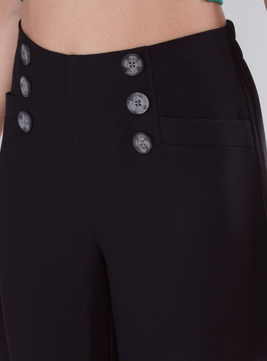 Solid Mid Rise Culottes with Button Detail