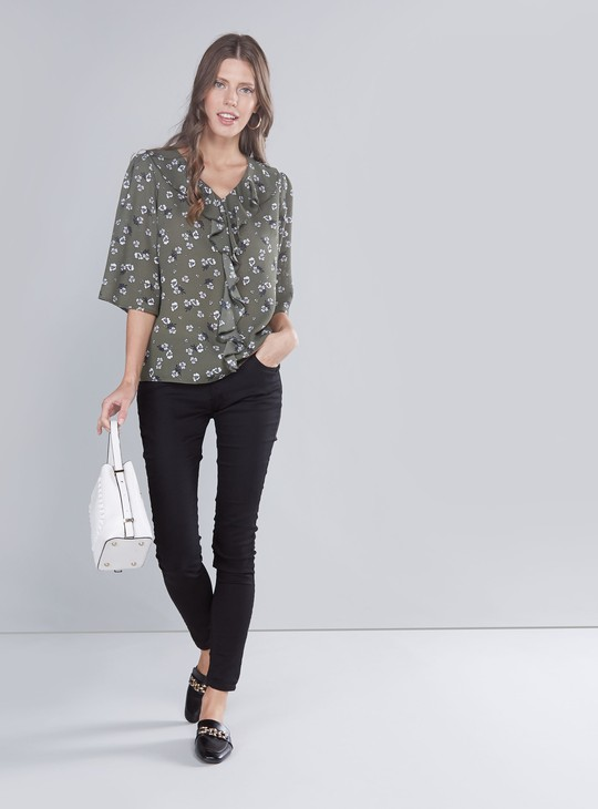 Printed V-neck Top with Ruffle Detail and 3/4 Sleeves