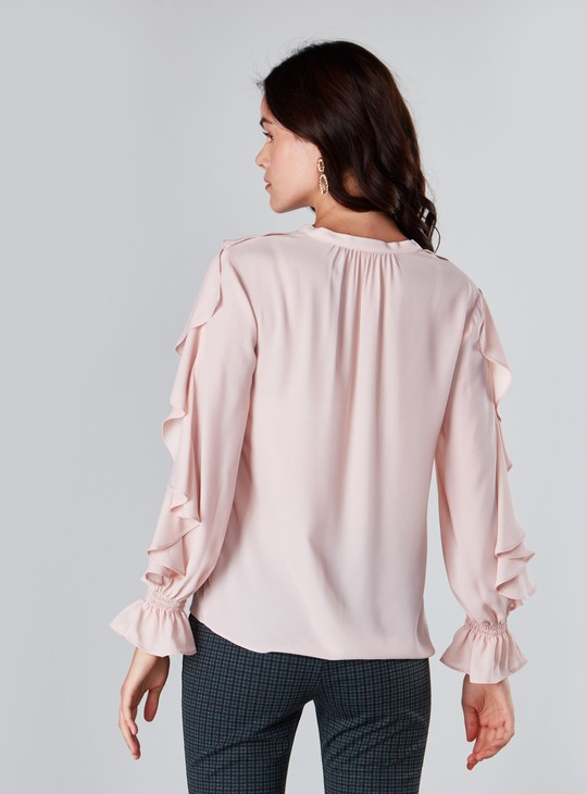 Ruffle Detail Top with V-neck and Long Sleeves