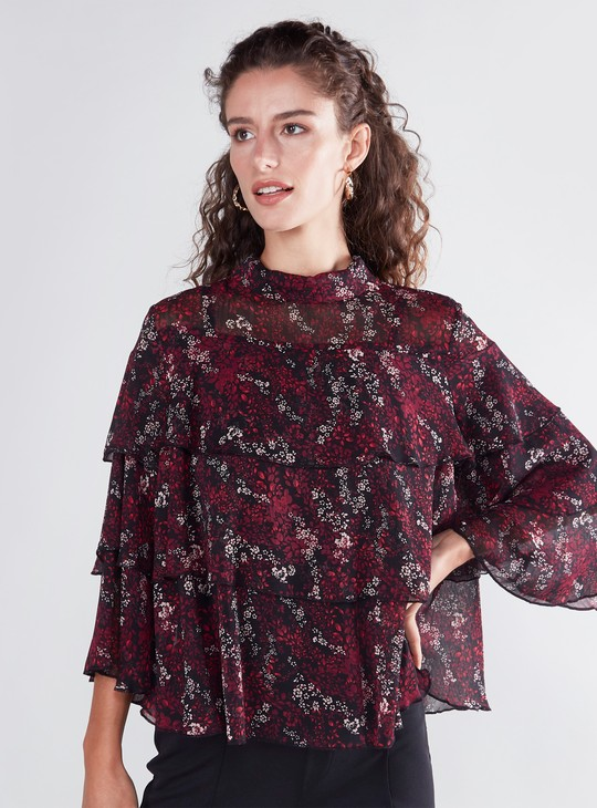 High Neck Tiered Floral Print Top
