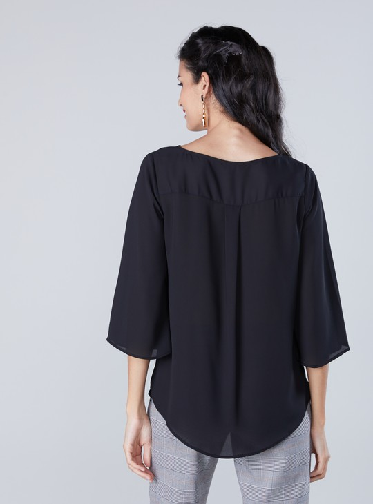 Solid Top with Round Neckline and Flared Sleeves