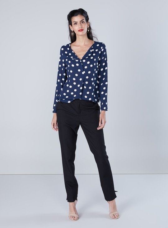 Polka Dot Printed Open Lapel V-Neck Top with Long Sleeves