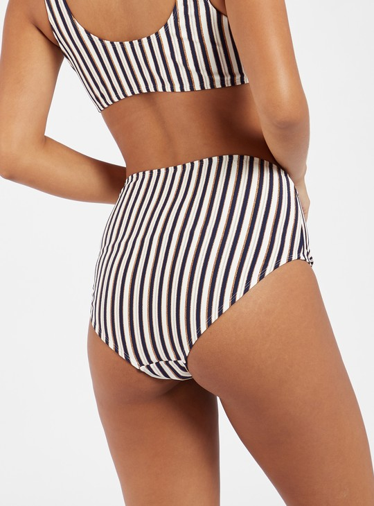 Striped Hi-Rise Full Briefs with Criss-Cross Detail