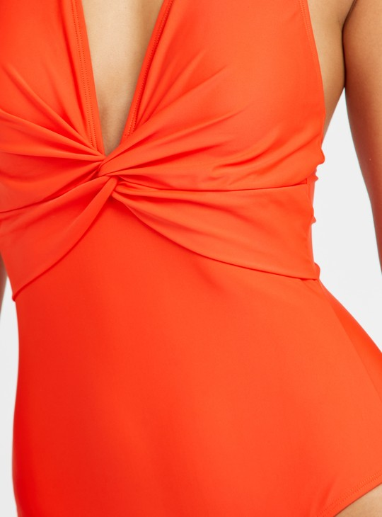 Solid Backless Halter Neck Swimsuit with Twist Knot