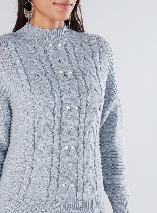 Pearl Detail High Neck Sweater with Drop Shoulder Sleeves