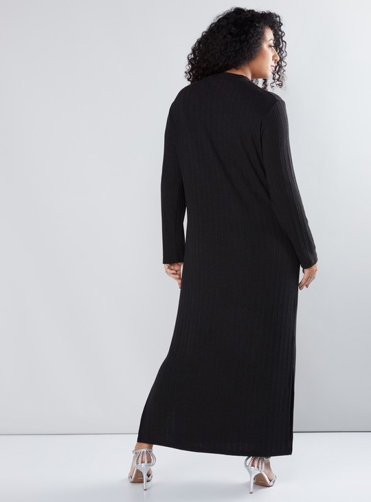 Textured Maxi Dress with Long Sleeves