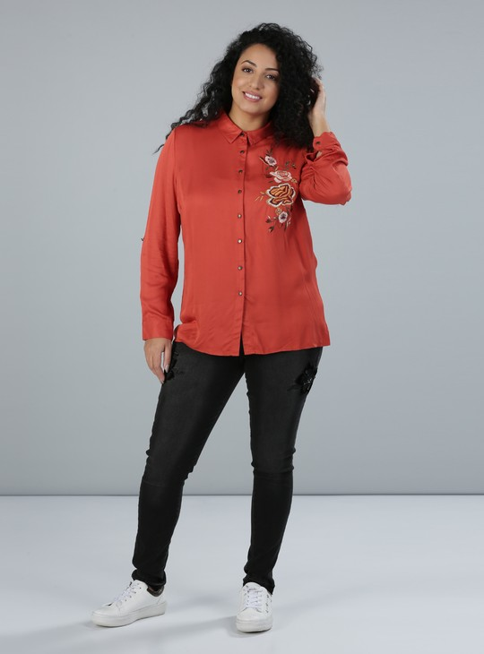 Embroidered Shirt with Long Sleeves and Complete Placket