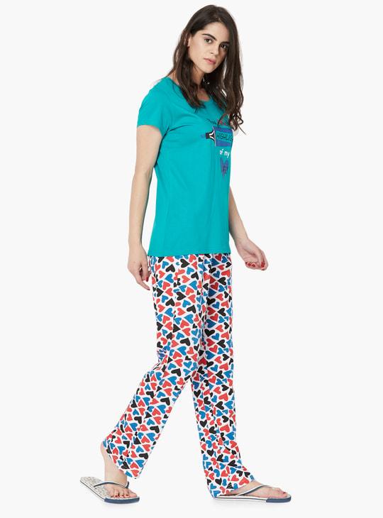MAX Printed T-Shirt And Pyjama Sleep Set