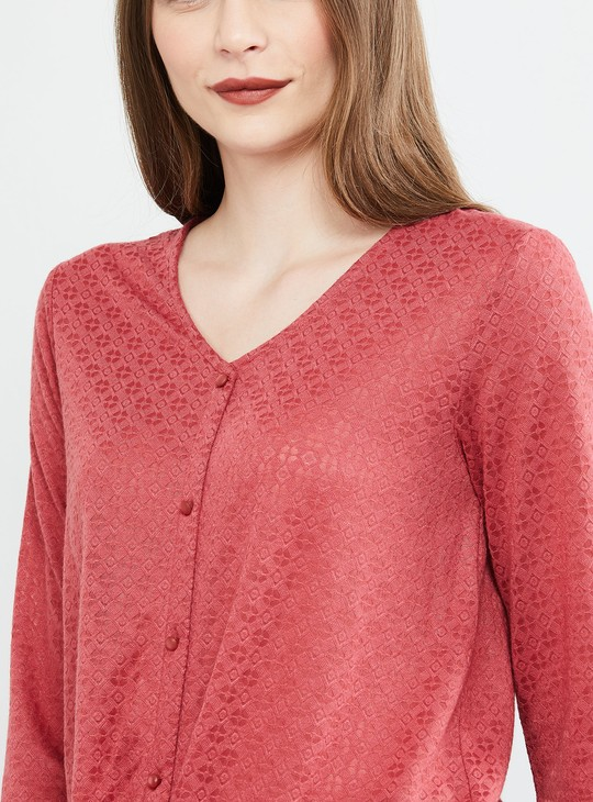 MAX Textured Full Sleeves Top