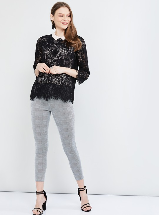 MAX Floral Lace Top with Scalloped Hem