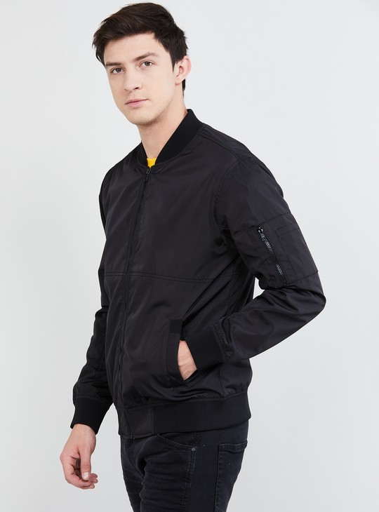 MAX Solid Bomber Jacket with Band Collar