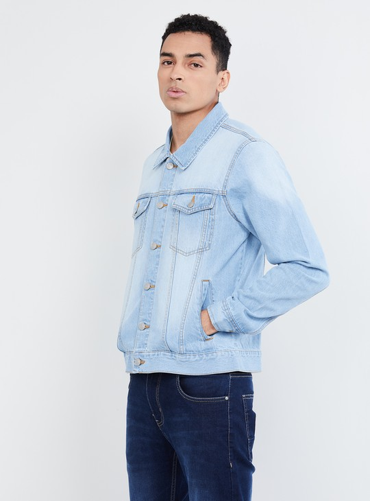 MAX Solid Casual Open-Front Denim Jacket