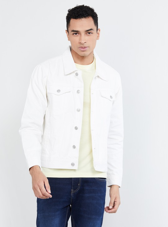 MAX Solid Buttoned-Front Denim Jacket