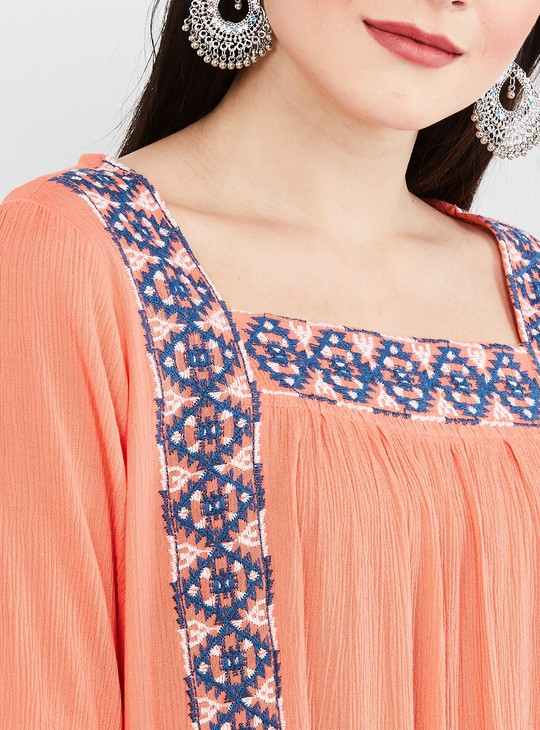 MAX Embroidered Short Sleeves Shift Dress