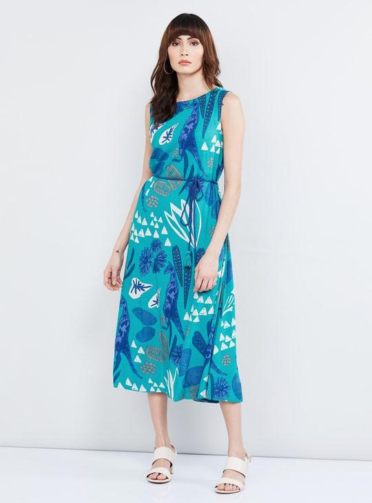 MAX Printed Sleeveless Midi Dress
