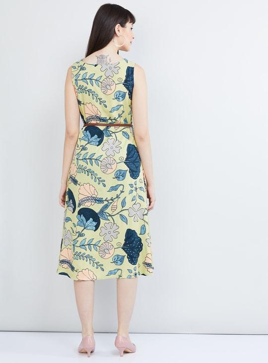 MAX Floral Print A-line Dress with Detachable Belt