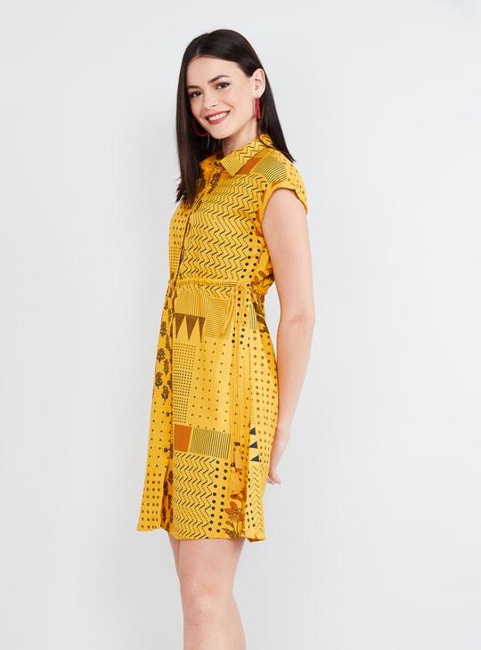 MAX Printed Cap Sleeves Skater Dress