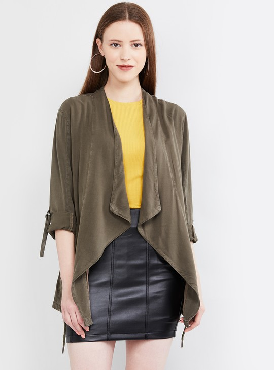 MAX Roll-Up Sleeves Solid Waterfall Shrug