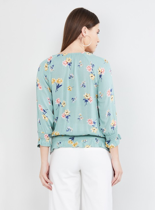 MAX Printed Cinched Waist Top