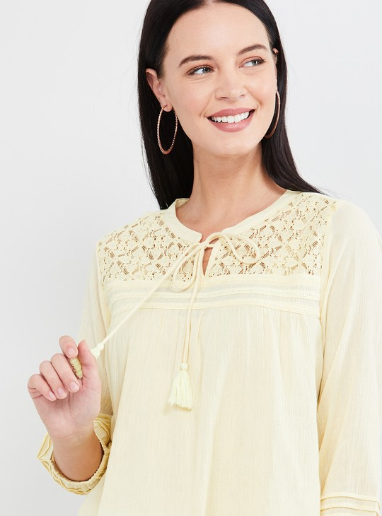 MAX Lace Detail Three-quarter Sleeves Top