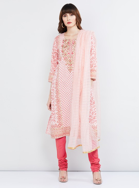 MAX Printed Straight Kurta with Churidar and Dupatta