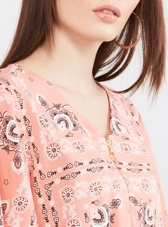 MAX Printed Flutter Sleeves Top