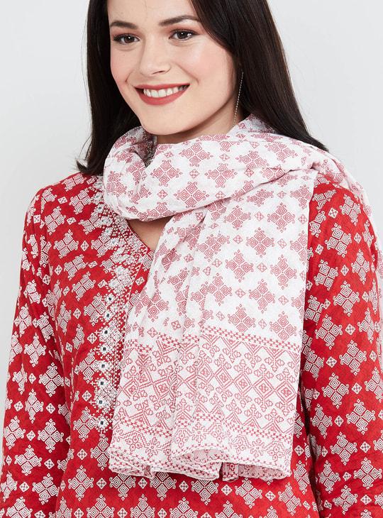 MAX Printed V-neck Kurta with Dupatta