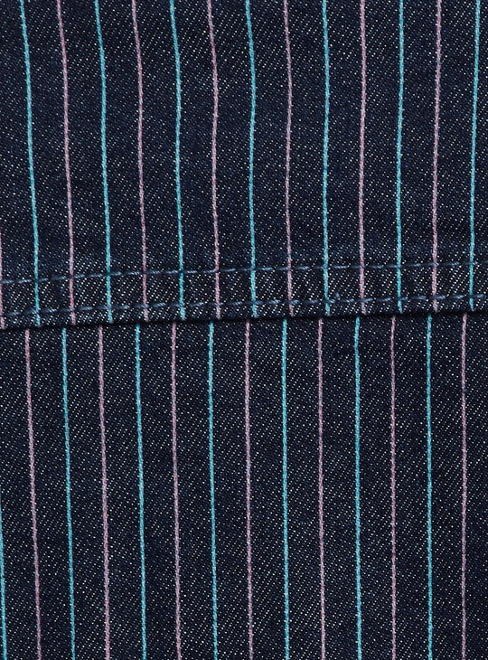 MAX Striped Cropped Denim Jacket