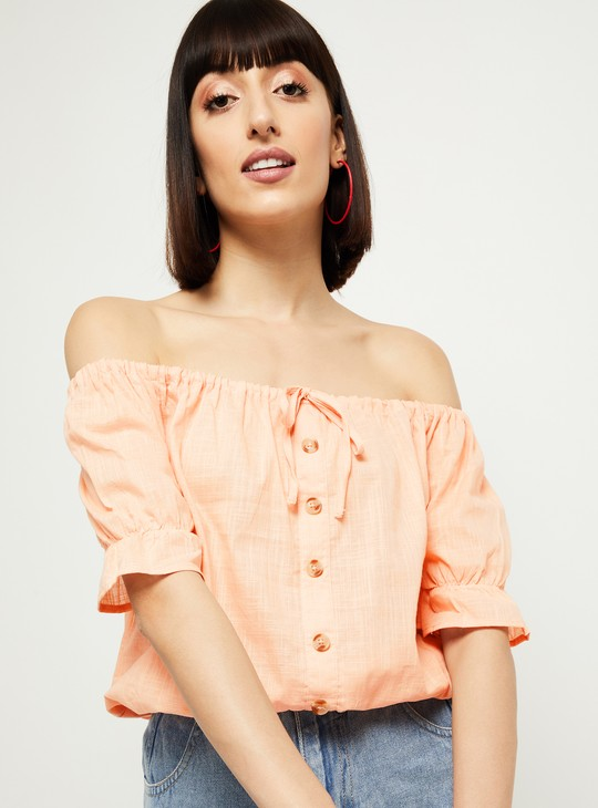 MAX Solid Cinched Hem Button-Down Top