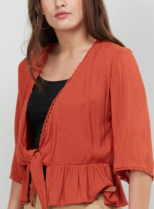 MAX Solid Short Shrug with Lace Trim