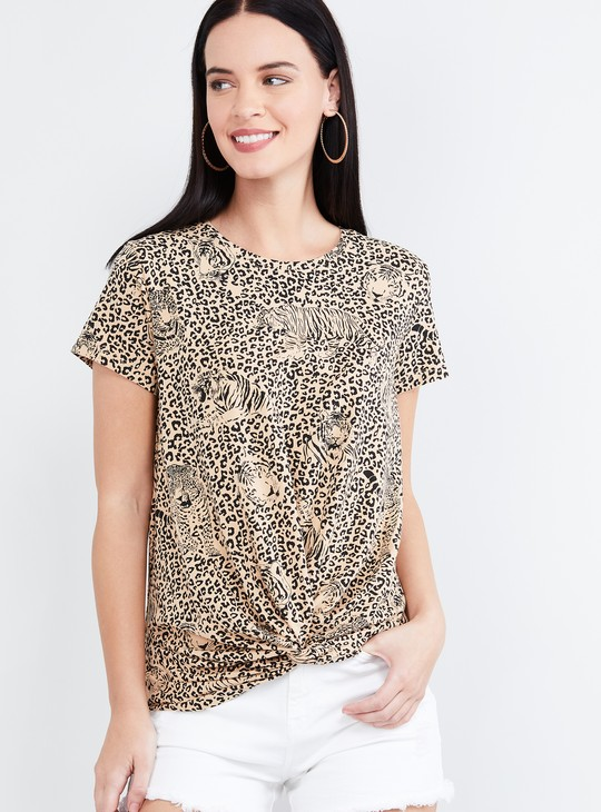 MAX Printed Knotted Hem Cap Sleeves T-shirt