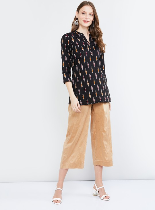 MAX Printed Straight Kurti with Open Collar