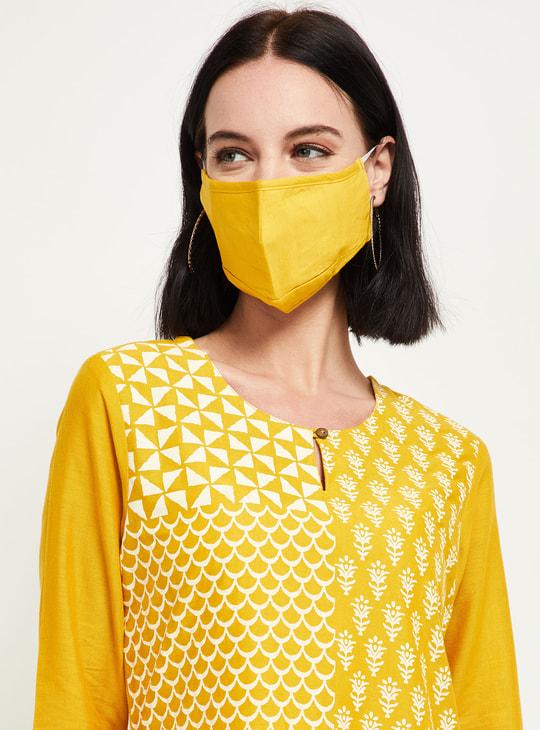 MAX Printed Three-quarter Sleeves Kurta with Face Mask