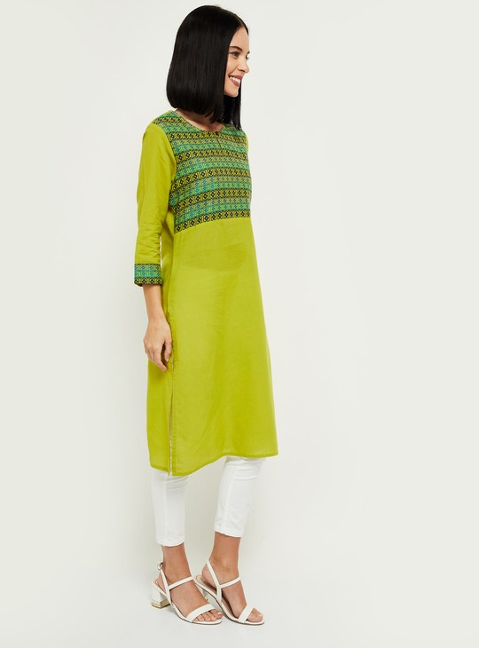 MAX Printed Buttoned-Notch Neck Straight Kurta with Face Mask