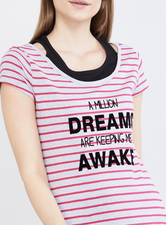 MAX Typographic Print Striped Night Dress