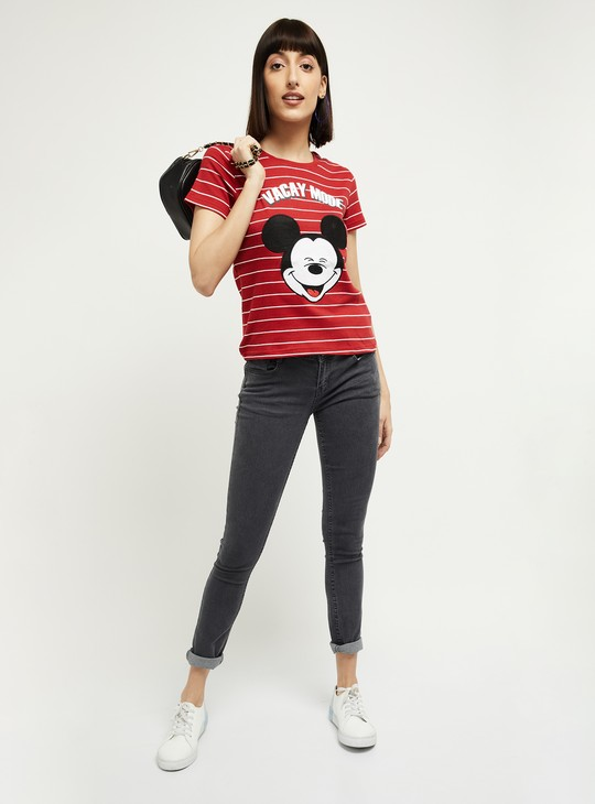 MAX Mickey Mouse Print Round Neck T-shirt